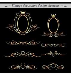 Golden decorative design elements vector image