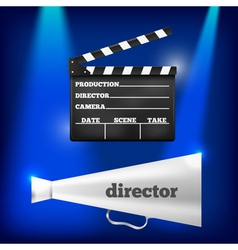 Metal megaphone and movie clapper vector