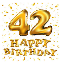 42 anniversary celebration with brilliant gold vector image vector image