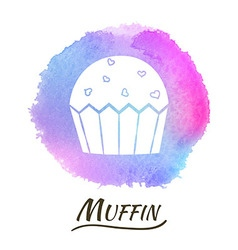 Food dessert muffin watercolor concept vector