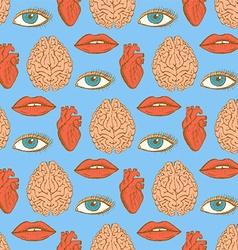 Sketch brain heart lips eye in vintage style vector image