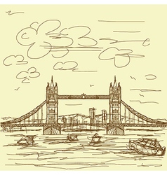 Vintage hand drawn of famous tourist destination vector