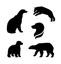 Polar bear silhouettes vector
