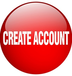 Create account red round gel isolated push button vector