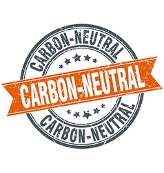 Carbon-neutral round orange grungy vintage vector