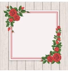 red rose on white vintage wooden background vector image