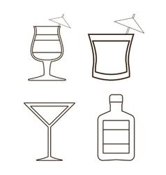 Silhouette set of cocktails alcohol design vector