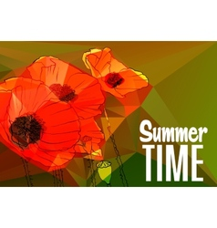 Abstract background with poppies vector image vector image