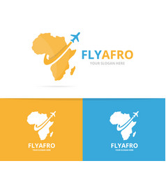 africa and plane logo combination safari vector image vector image