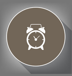 alarm clock sign white icon on brown vector image