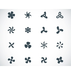 Black fans and propellers icons set vector