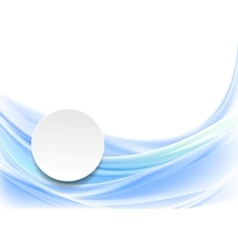 Blue smooth wavy background with blank circle vector image