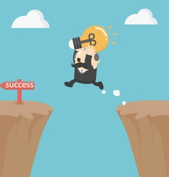 Businessman jump over the cliffBig Boss vector image vector image