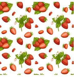 cartoon fresh strawberry fruits seamless pattern vector image vector image