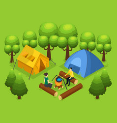 Colorful backpacking recreation concept vector