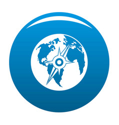 Compass on earth icon blue vector