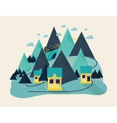 Flat eco liner design rural landscape business vector