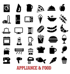 Food and home appliance flat icons vector