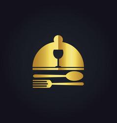 Food dish gold logo vector