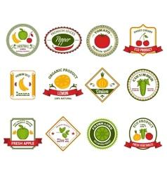 Fruit vegetables labels set color vector image vector image