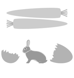 Grey rabbit hatched from an egg and carrot frames vector image