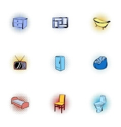 Home furnishings icons set pop-art style vector image vector image
