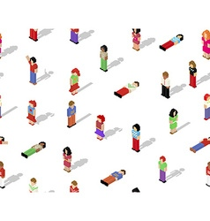 Isometric pixel people seamless pattern vector image
