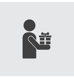 Man with gift icon vector