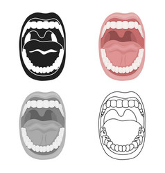 Mouth icon in cartoon style isolated on white vector