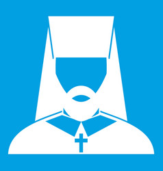 Orthodox priest icon white vector