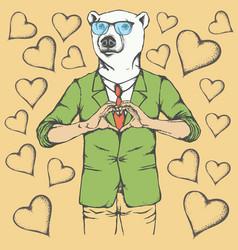Polar bear valentine day concept vector