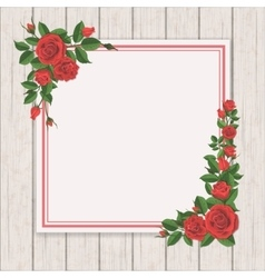 Red rose on white vintage wooden background vector