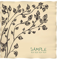 Romantic tree invitation parchment card template vector