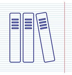 Row of binders office folders icon navy vector