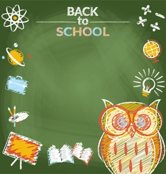 School education owl with icons frame vector