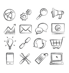 Seo doodle icons vector