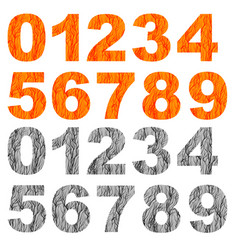 Set of grunge orange grey numbers vector