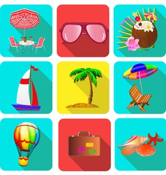 set of icons on a theme vacation with sunglasses vector image