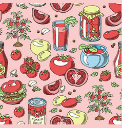 tomato seamless pattern juicy tomatoes food vector image
