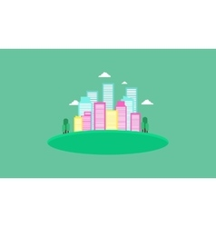 Town icon landscape of silhouettes vector