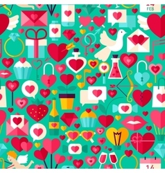 Valentine day green seamless pattern vector