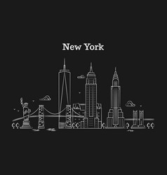 White linear new york panorama with bridges vector