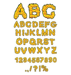 Fire abc flame alphabet fiery letters burning font vector