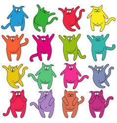 sixteen thick funny cats vector image