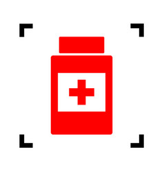 Medical container sign  red icon inside vector