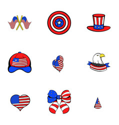 America icons set cartoon style vector