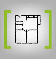 apartment house floor plans black vector image