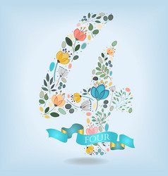 Floral number four with blue ribbon vector
