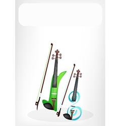 Two Beautiful Modern Violins with A White Banner vector image