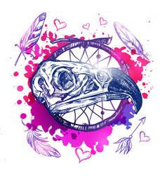 Skull eagle boho tattoo vector